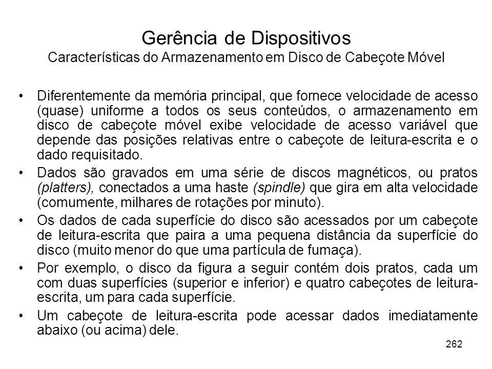 Gerência de Dispositivos Características do Armazenamento em Disco de Cabeçote Móvel