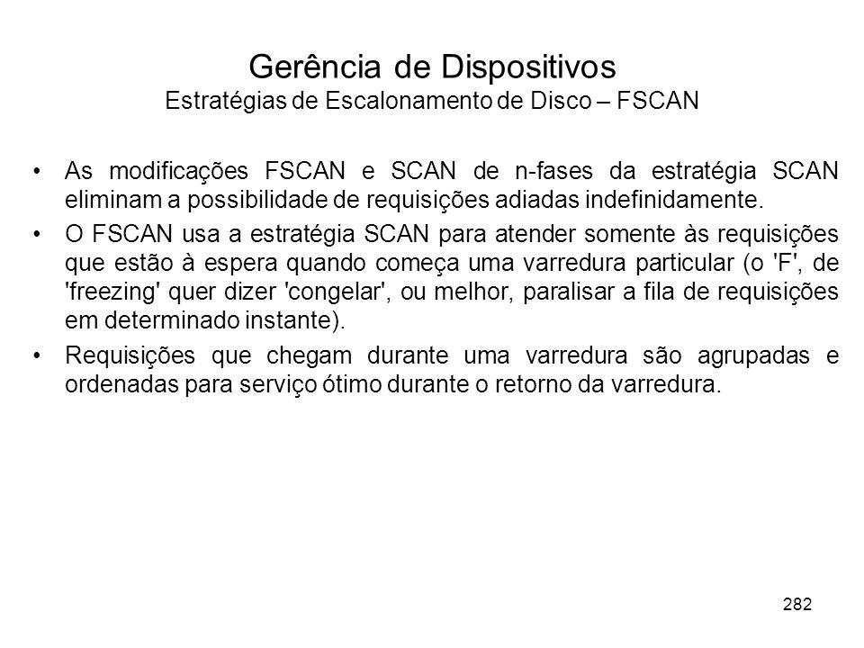 Gerência de Dispositivos Estratégias de Escalonamento de Disco – FSCAN