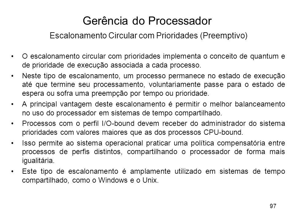 Gerência do Processador Escalonamento Circular com Prioridades (Preemptivo)