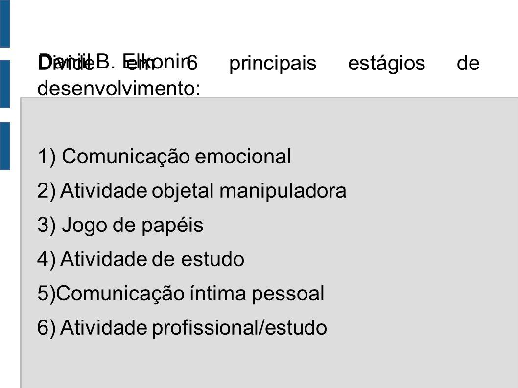 Daniil B. Elkonin Divide em 6 principais estágios de desenvolvimento: 1) Comunicação emocional. 2) Atividade objetal manipuladora.