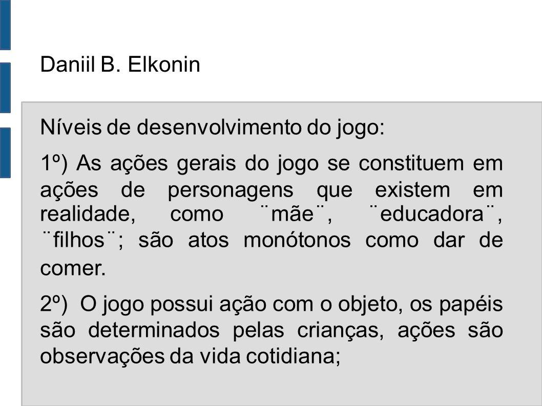 Daniil B. Elkonin Níveis de desenvolvimento do jogo: