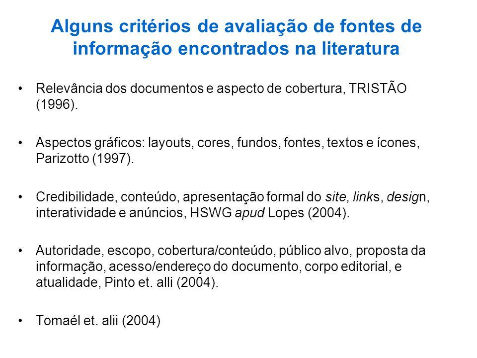 Alguns critérios de avaliação de fontes de informação encontrados na literatura