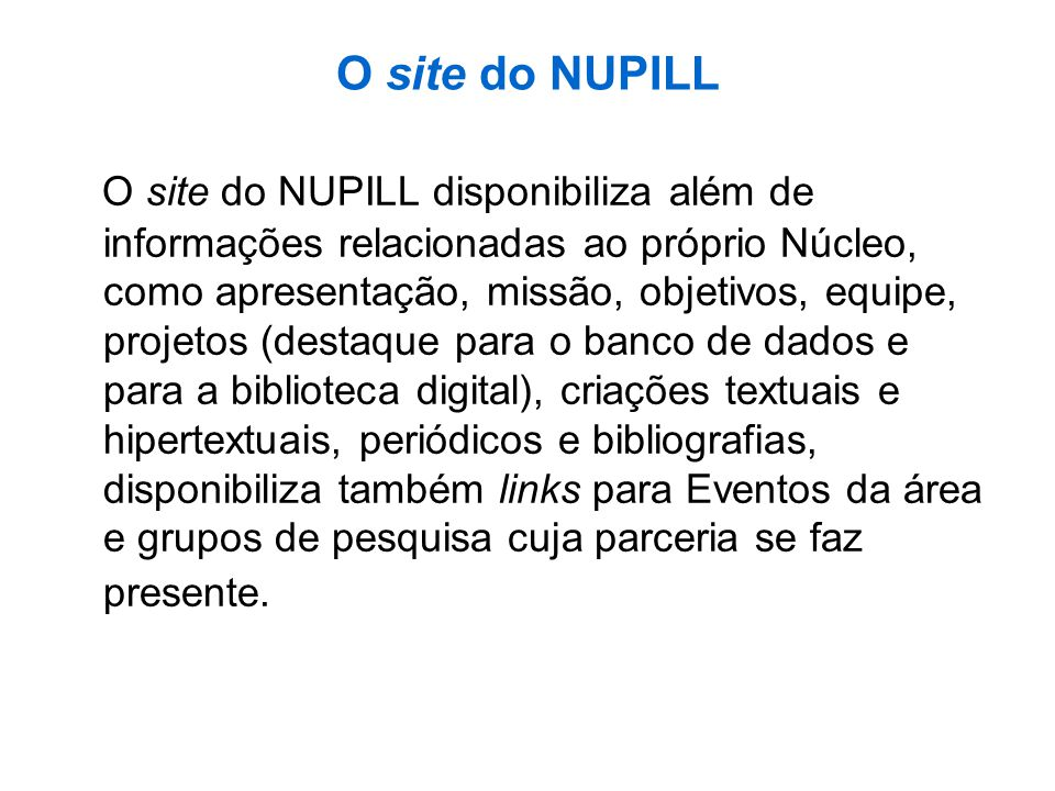 O site do NUPILL