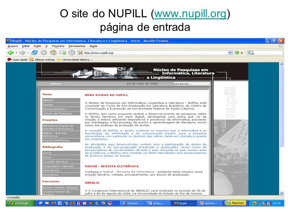 O site do NUPILL (www.nupill.org) página de entrada