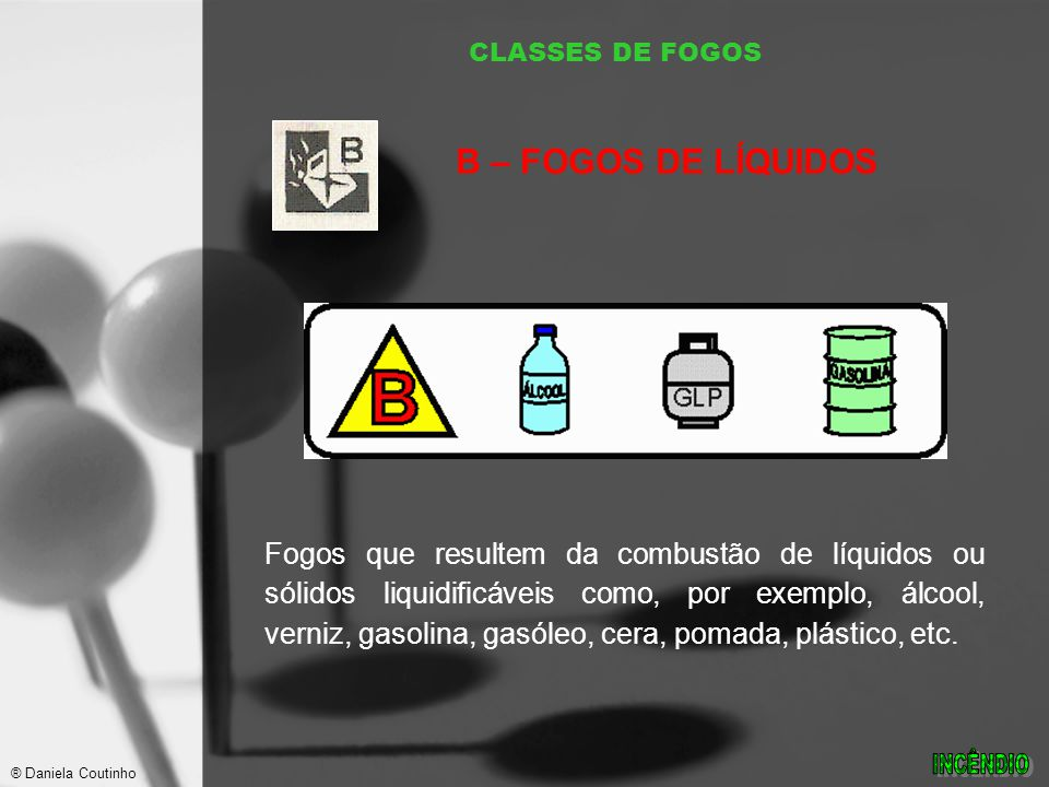 CLASSES DE FOGOS B – FOGOS DE LÍQUIDOS.