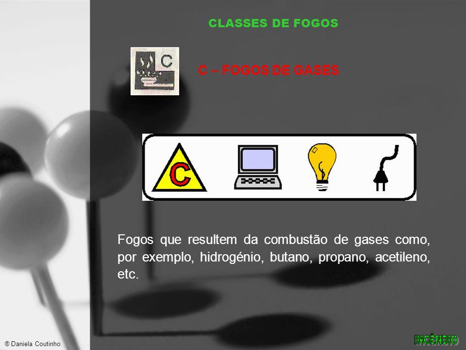 CLASSES DE FOGOS C – FOGOS DE GASES. Fogos que resultem da combustão de gases como, por exemplo, hidrogénio, butano, propano, acetileno, etc.