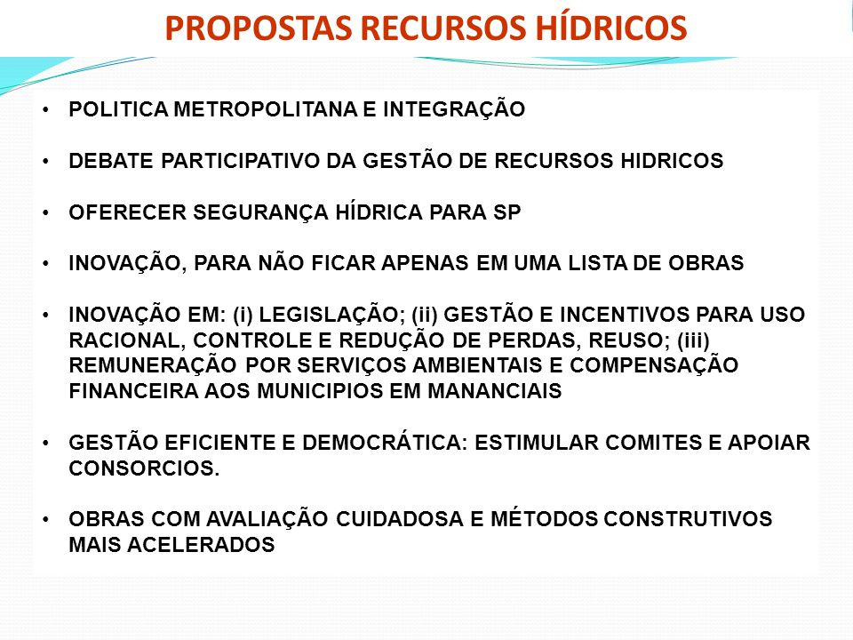 PROPOSTAS RECURSOS HÍDRICOS