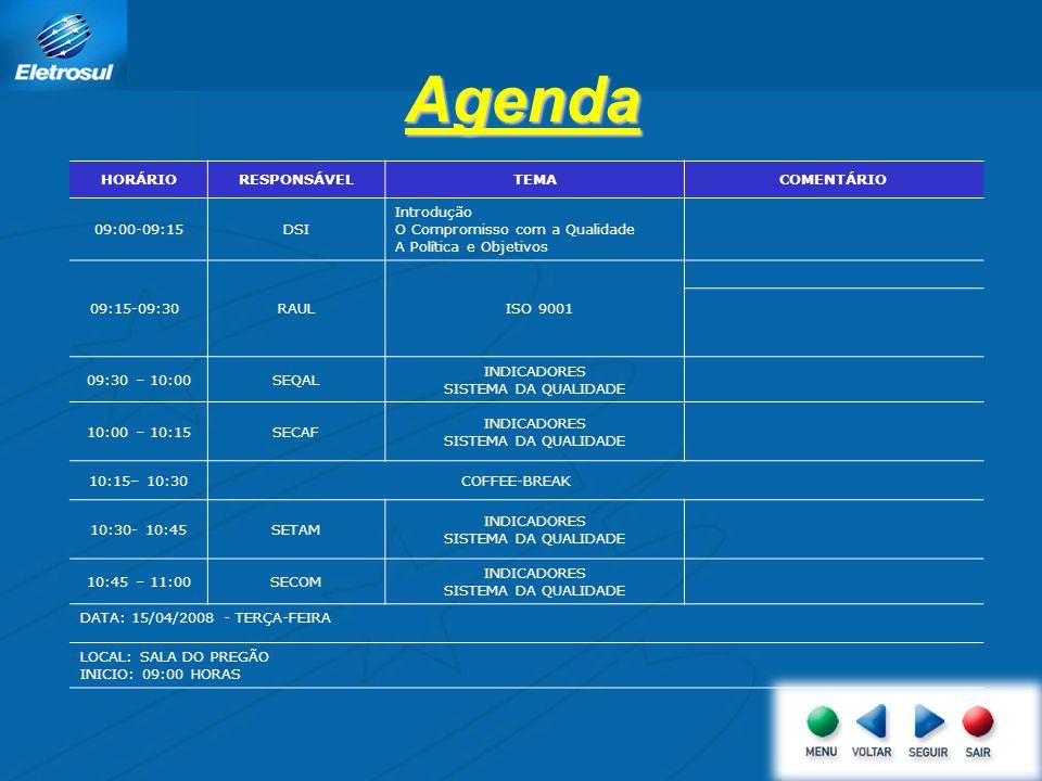 Agenda HORÁRIO RESPONSÁVEL TEMA COMENTÁRIO 09:00-09:15 DSI Introdução