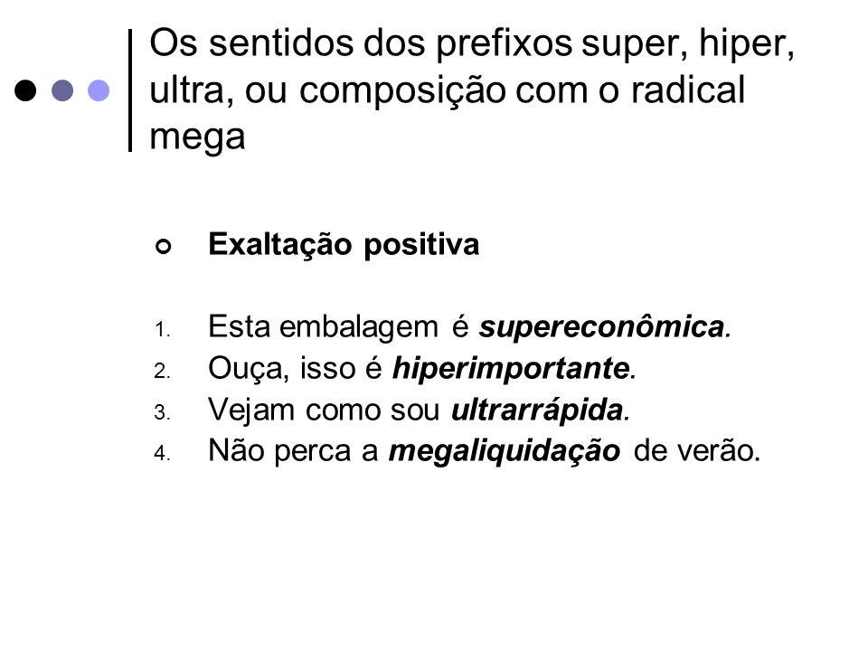 Os sentidos dos prefixos super, hiper, ultra, ou composição com o radical mega