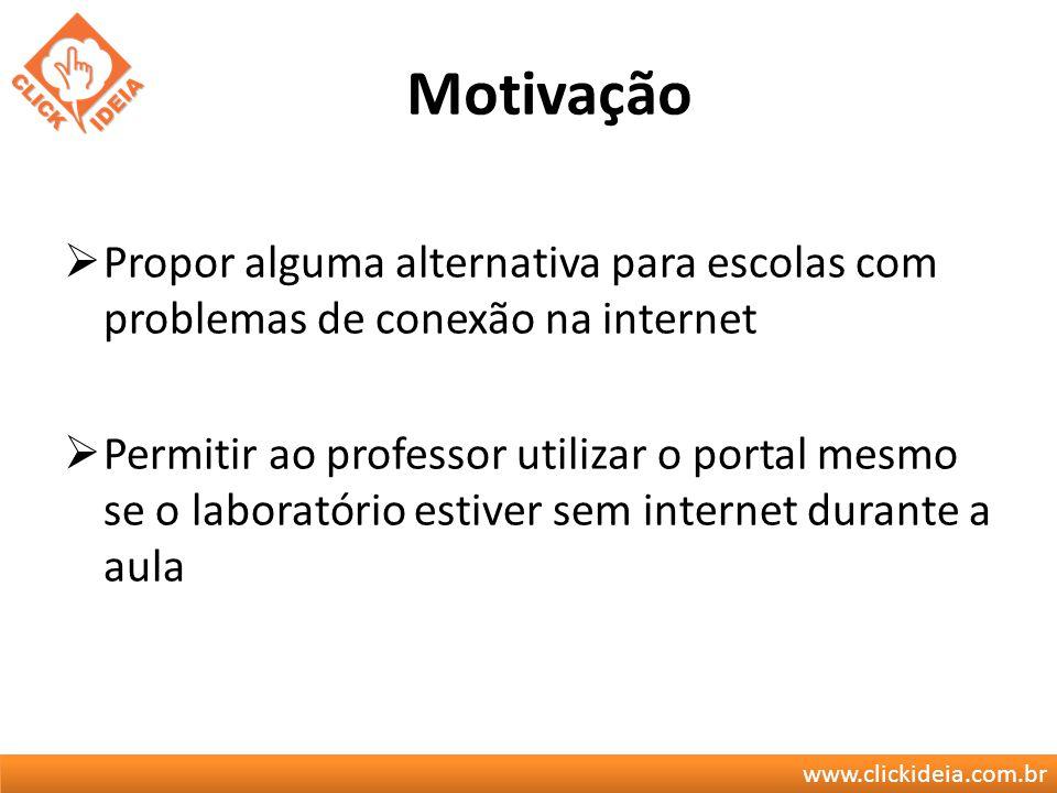 Motivação Propor alguma alternativa para escolas com problemas de conexão na internet.