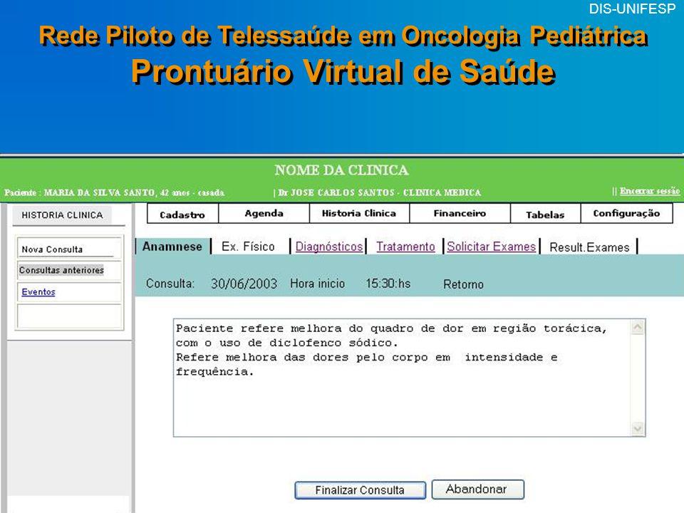 Rede Piloto de Telessaúde em Oncologia Pediátrica Prontuário Virtual de Saúde