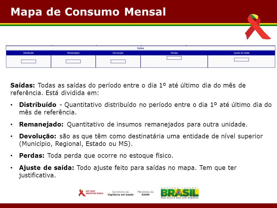 Mapa de Consumo Mensal Saídas: Todas as saídas do período entre o dia 1º até último dia do mês de referência. Está dividida em: