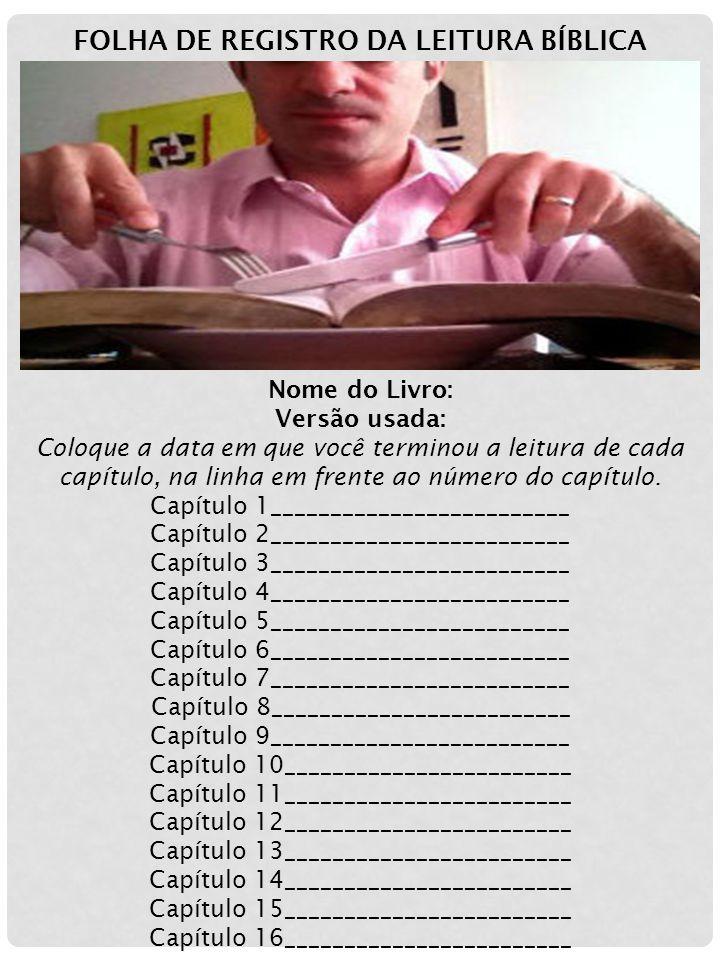 FOLHA DE REGISTRO DA LEITURA BÍBLICA