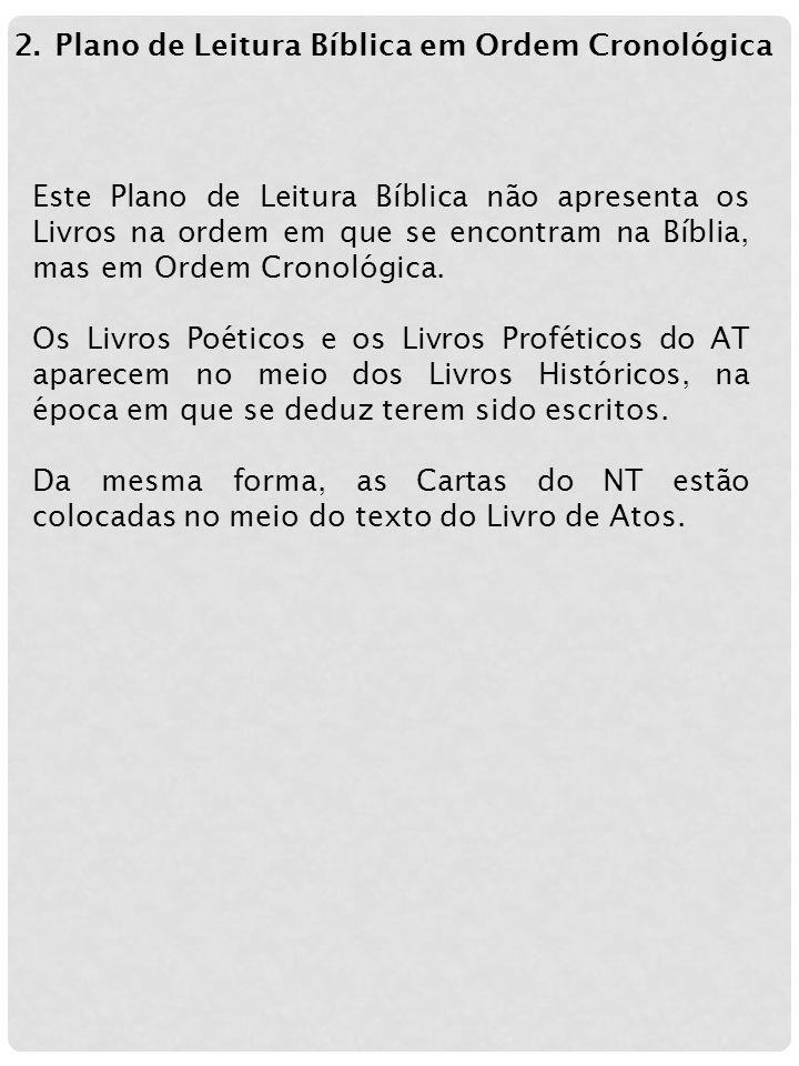 Plano de Leitura Bíblica em Ordem Cronológica