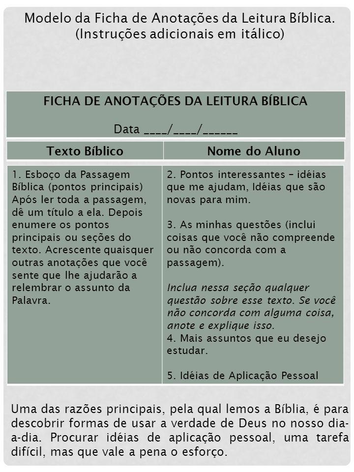 FICHA DE ANOTAÇÕES DA LEITURA BÍBLICA