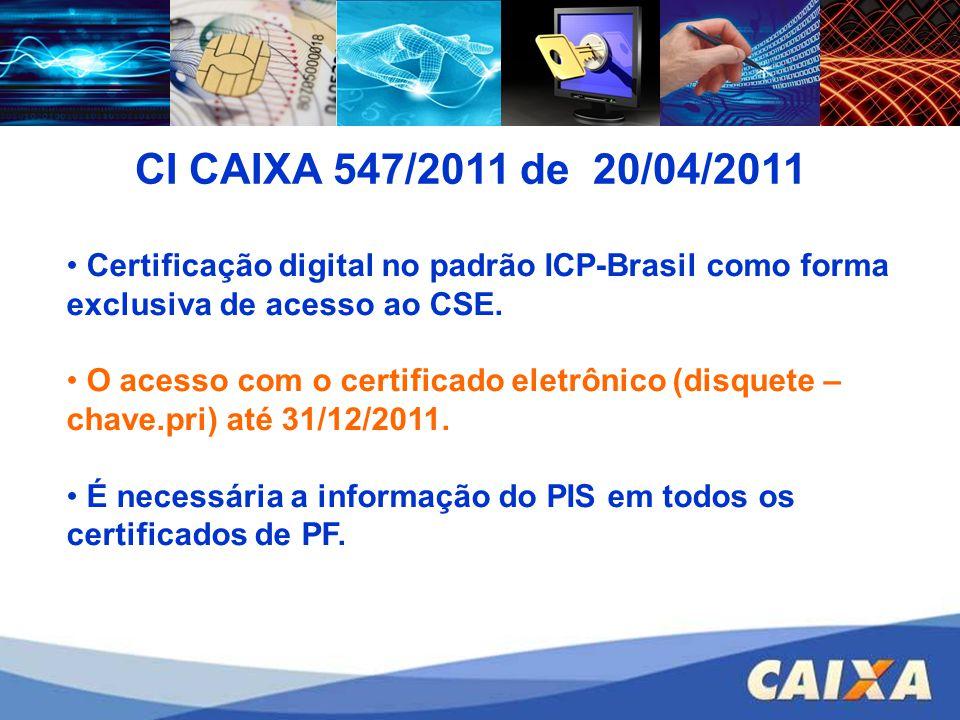 CI CAIXA 547/2011 de 20/04/2011 Certificação digital no padrão ICP-Brasil como forma exclusiva de acesso ao CSE.