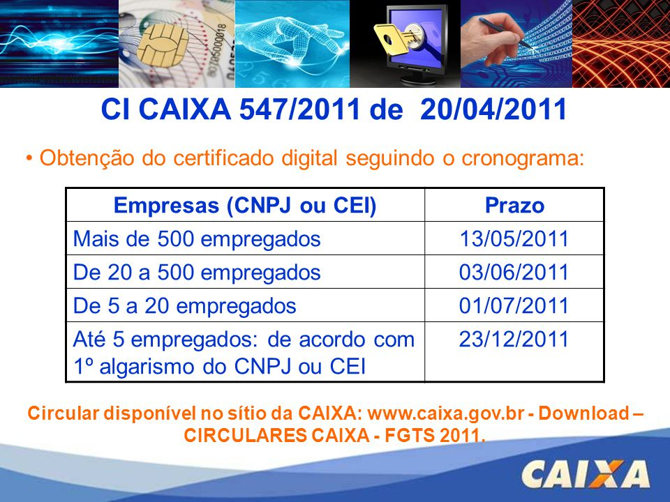 CI CAIXA 547/2011 de 20/04/2011 Obtenção do certificado digital seguindo o cronograma: Empresas (CNPJ ou CEI)