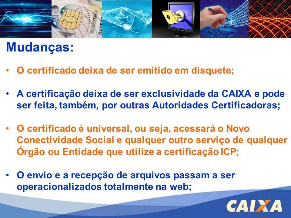 Mudanças: O certificado deixa de ser emitido em disquete;