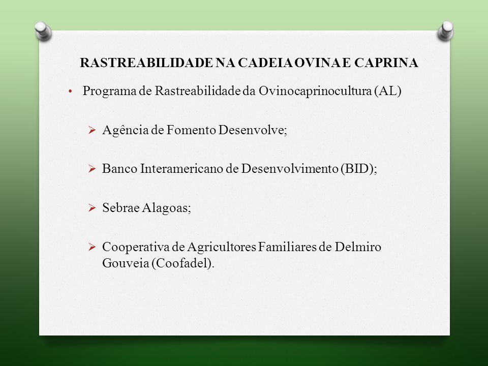 RASTREABILIDADE NA CADEIA OVINA E CAPRINA