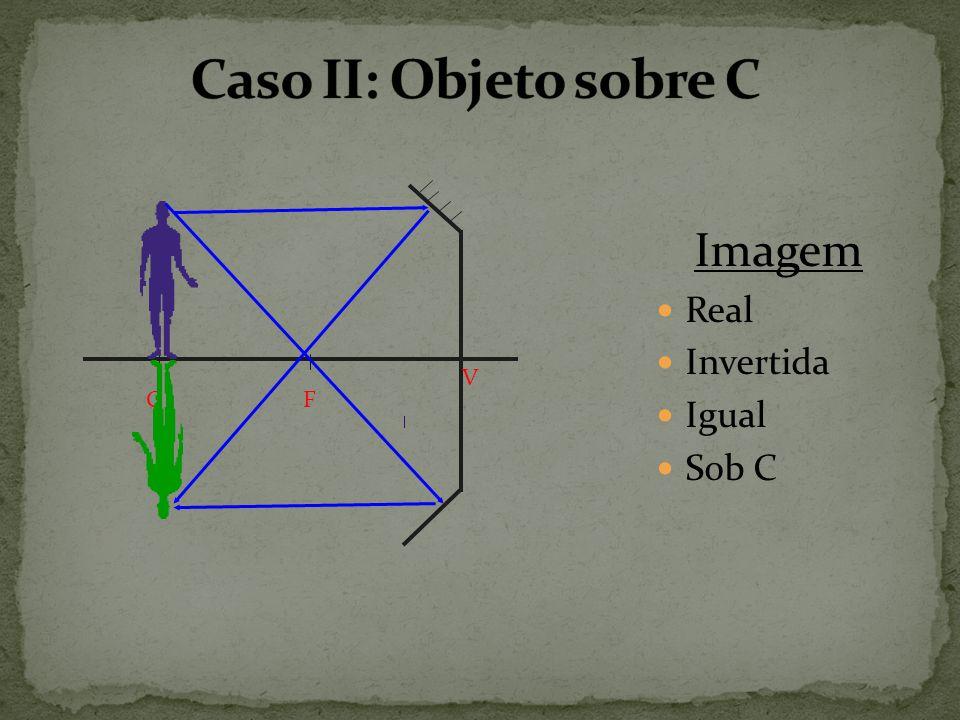 Caso II: Objeto sobre C C F V Imagem Real Invertida Igual Sob C