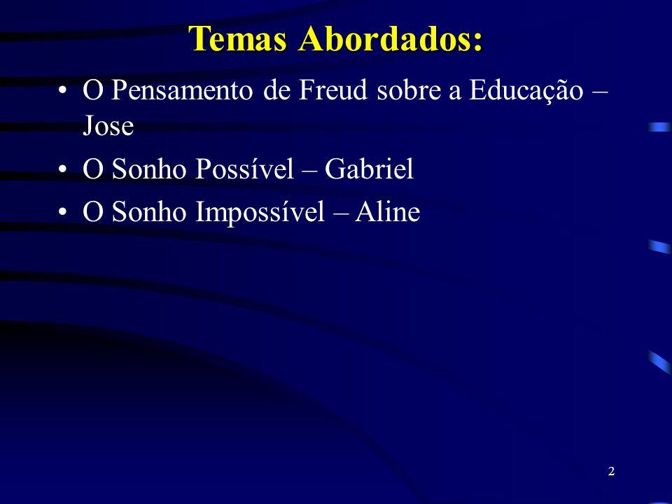 Temas Abordados: O Pensamento de Freud sobre a Educação – Jose