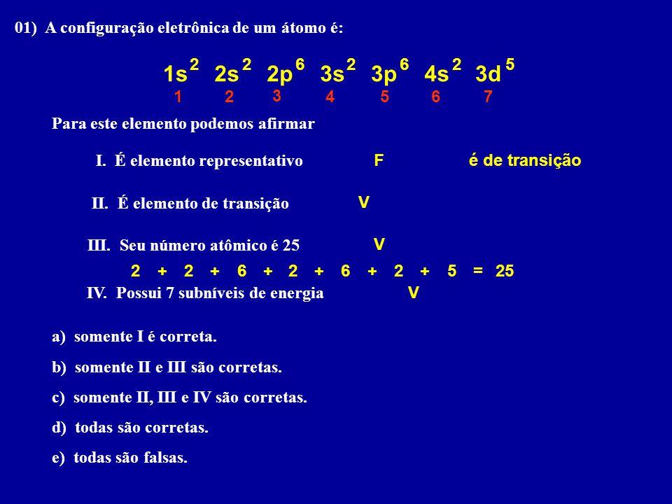 1s 2s 2p 3s 3p 4s 3d 01) A configuração eletrônica de um átomo é: 2 2