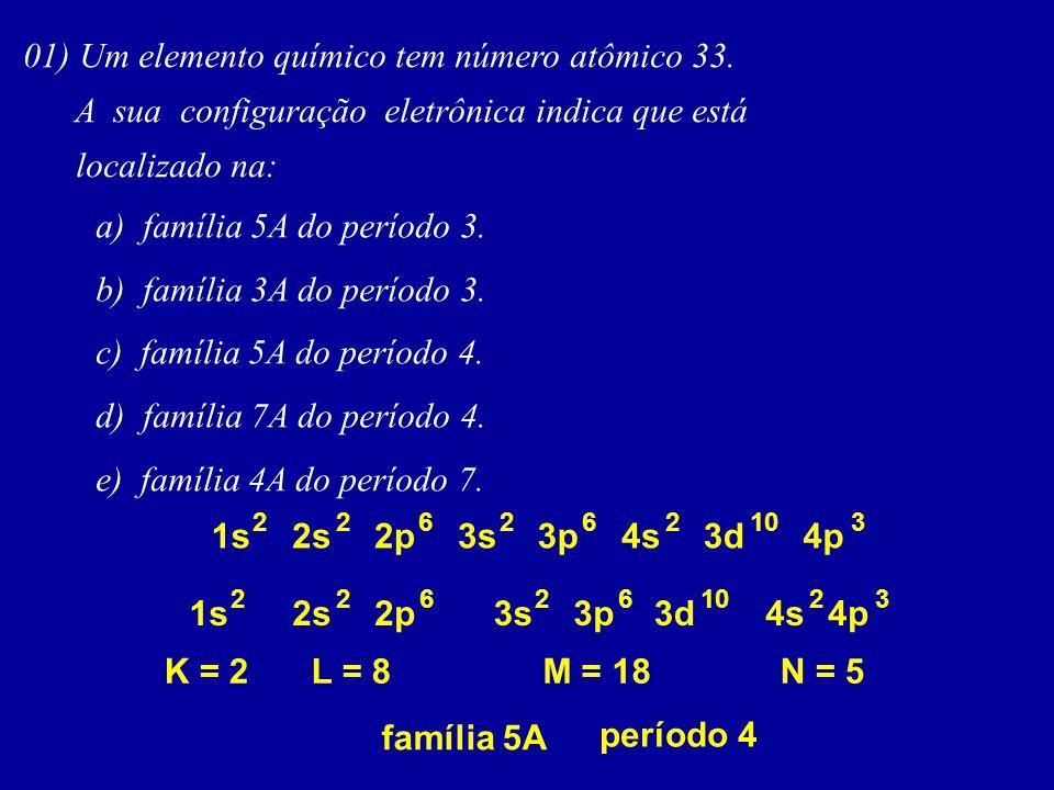 01) Um elemento químico tem número atômico 33.