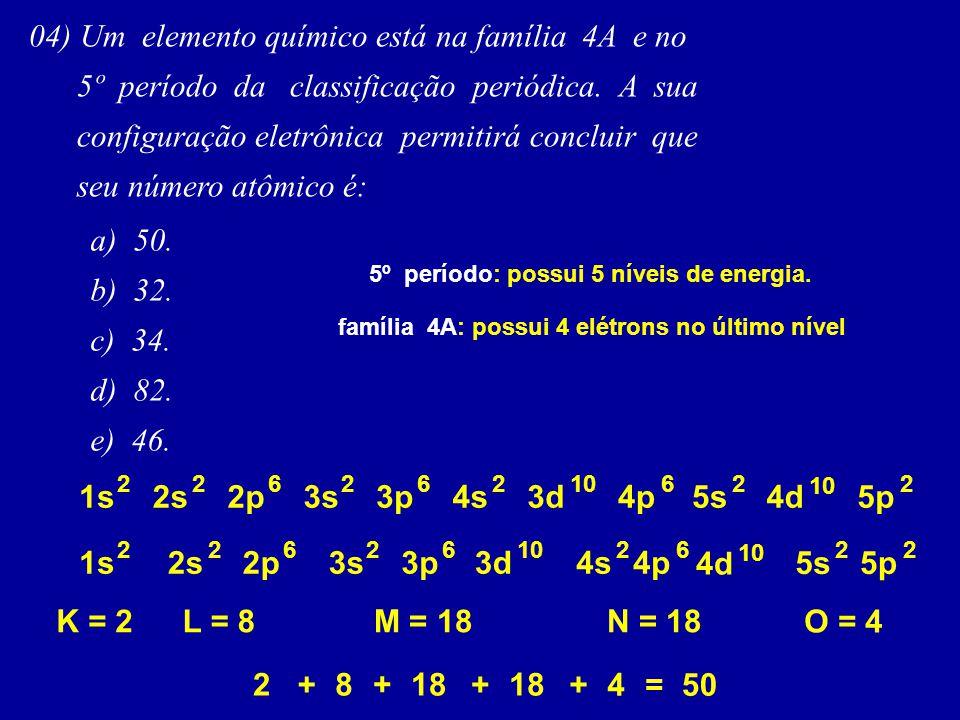 04) Um elemento químico está na família 4A e no