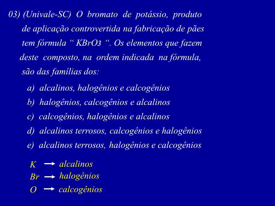 03) (Univale-SC) O bromato de potássio, produto