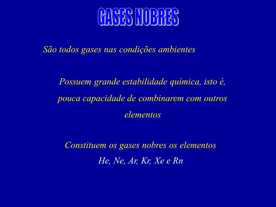 Constituem os gases nobres os elementos