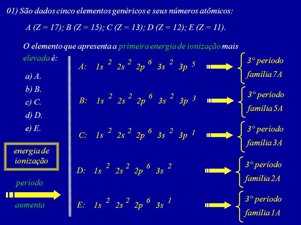 01) São dados cinco elementos genéricos e seus números atômicos:
