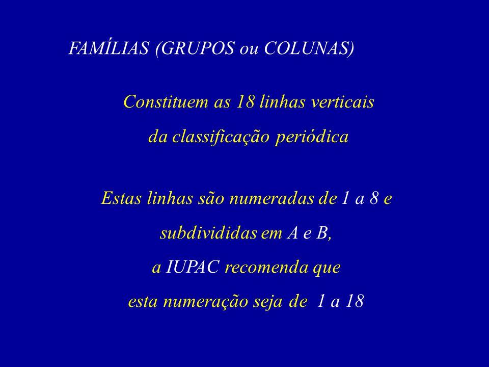 FAMÍLIAS (GRUPOS ou COLUNAS)