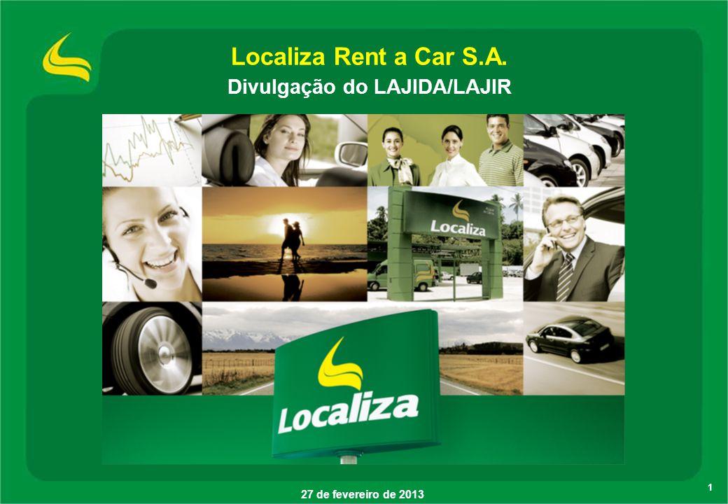 Localiza Rent a Car S.A. Divulgação do LAJIDA/LAJIR