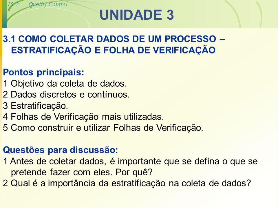 UNIDADE 3 3.1 COMO COLETAR DADOS DE UM PROCESSO – ESTRATIFICAÇÃO E FOLHA DE VERIFICAÇÃO. Pontos principais: