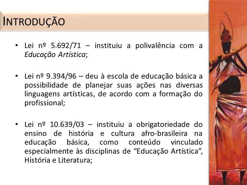 Introdução Lei nº 5.692/71 – instituiu a polivalência com a Educação Artística;