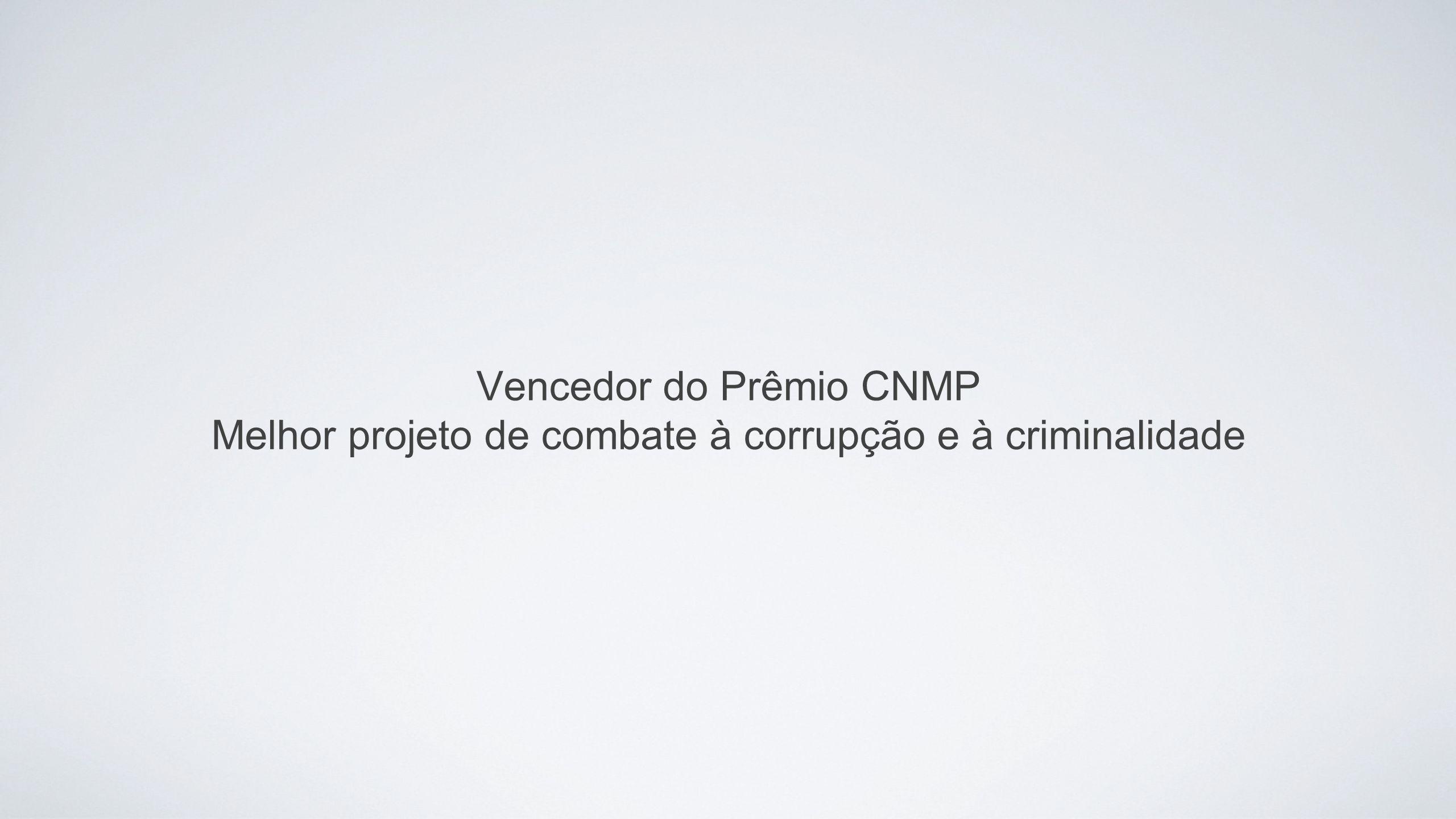 Vencedor do Prêmio CNMP Melhor projeto de combate à corrupção e à criminalidade