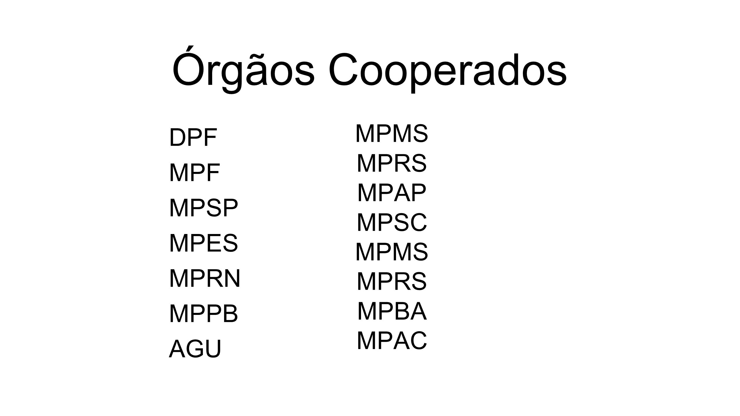 Órgãos Cooperados MPMS MPRS DPF MPF MPAP MPSP MPSC MPES MPRN MPBA MPPB