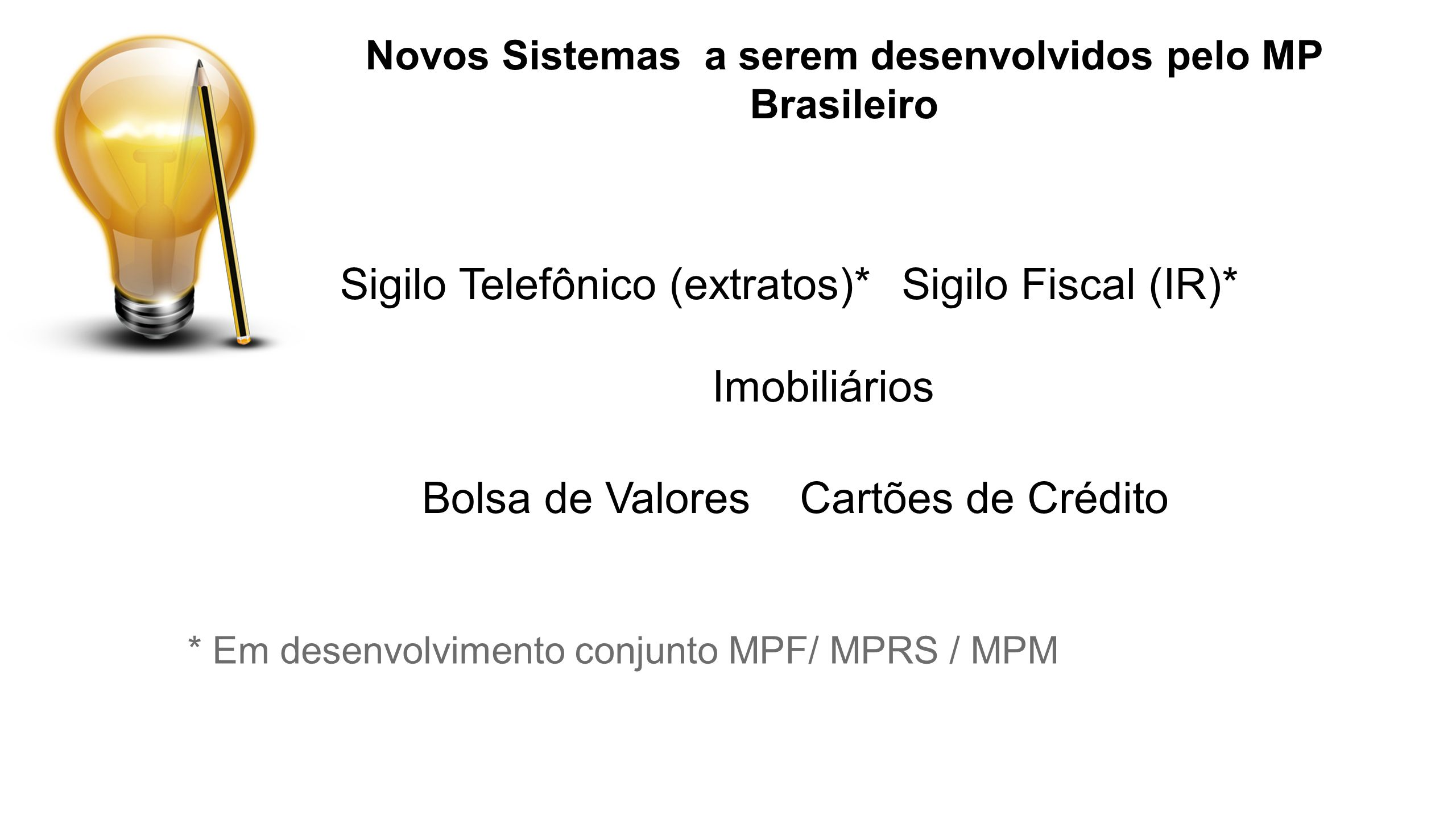Novos Sistemas a serem desenvolvidos pelo MP Brasileiro