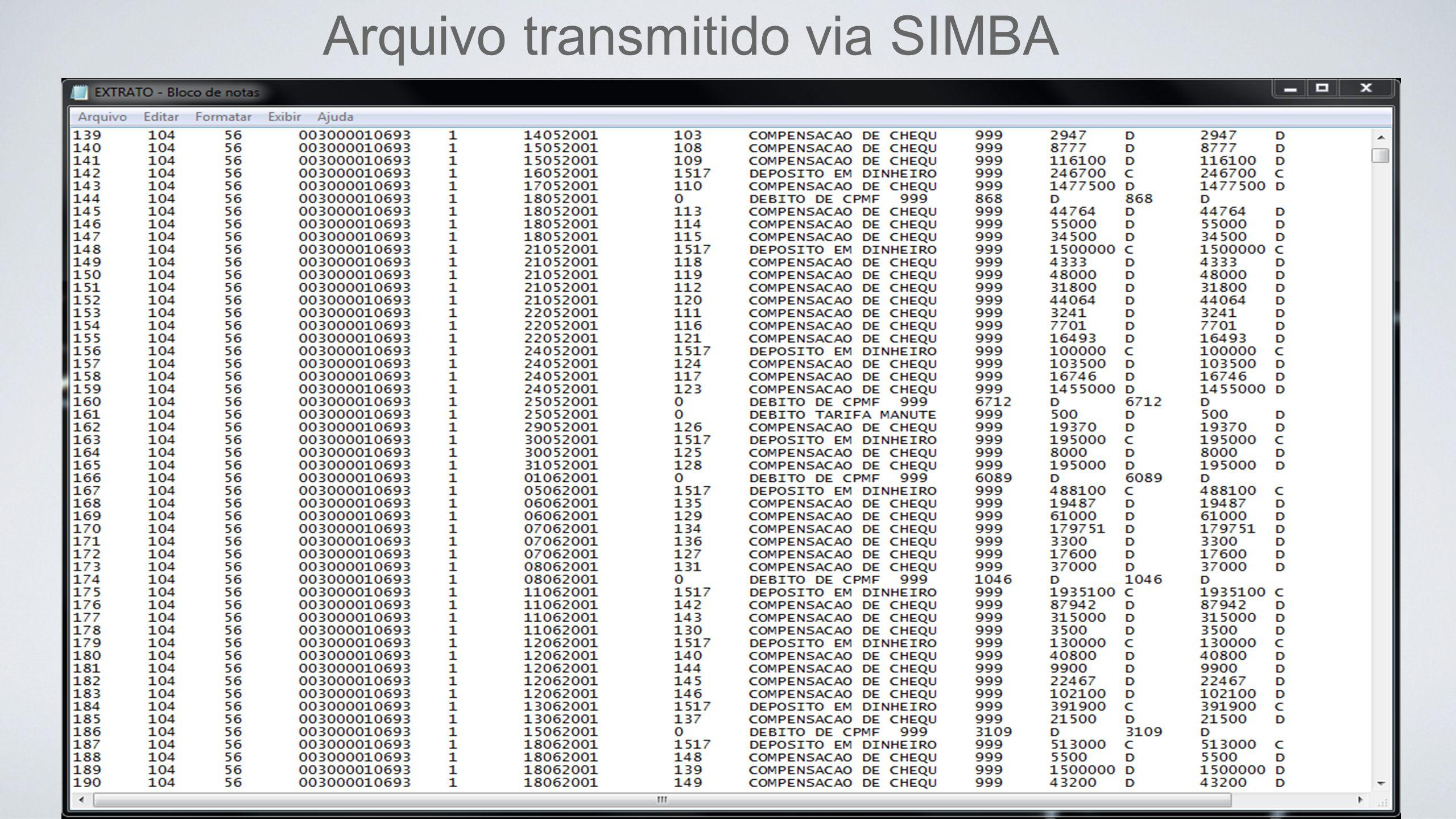 Arquivo transmitido via SIMBA