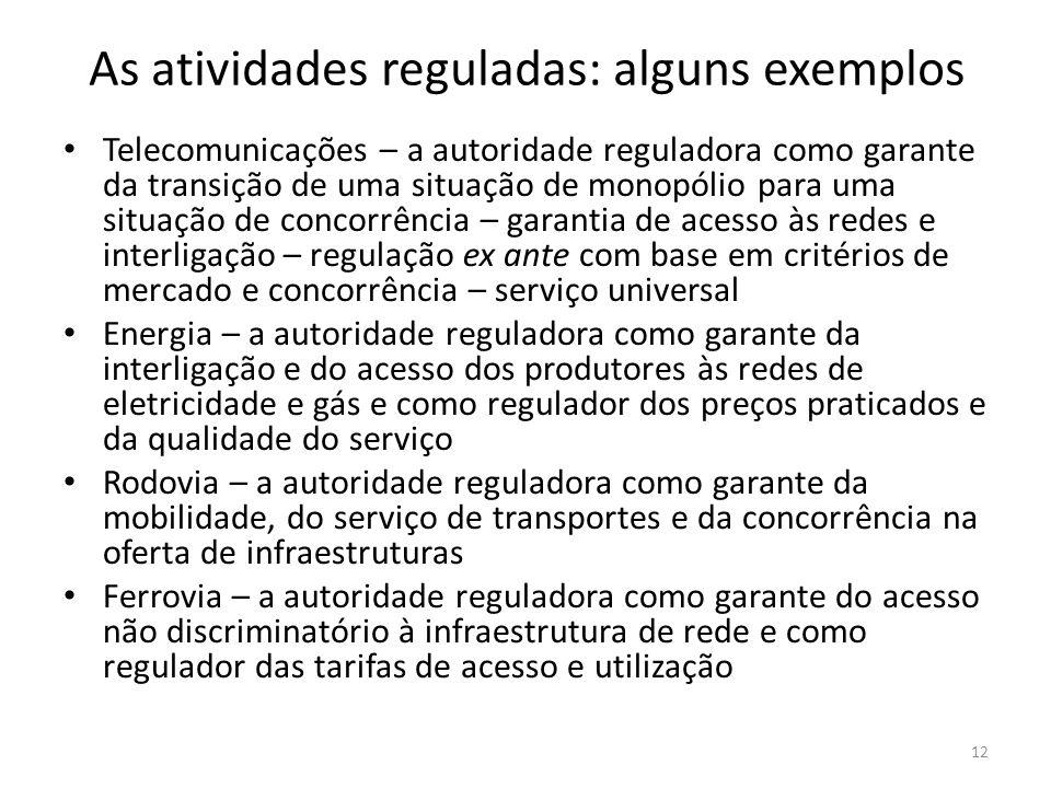 As atividades reguladas: alguns exemplos