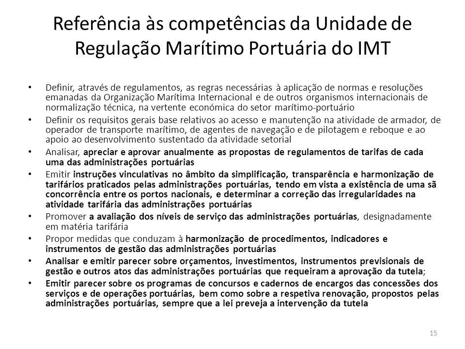 Referência às competências da Unidade de Regulação Marítimo Portuária do IMT