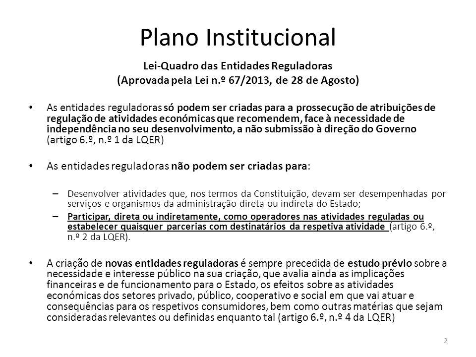 Plano Institucional Lei-Quadro das Entidades Reguladoras