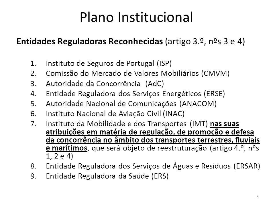 Plano Institucional Entidades Reguladoras Reconhecidas (artigo 3.º, nºs 3 e 4) Instituto de Seguros de Portugal (ISP)