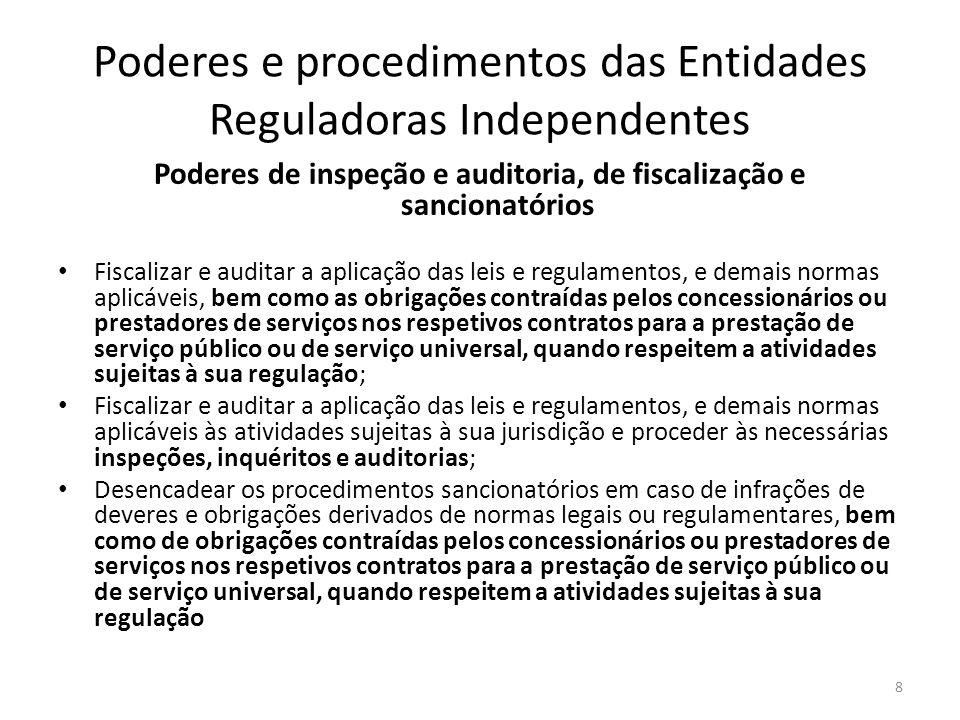 Poderes e procedimentos das Entidades Reguladoras Independentes