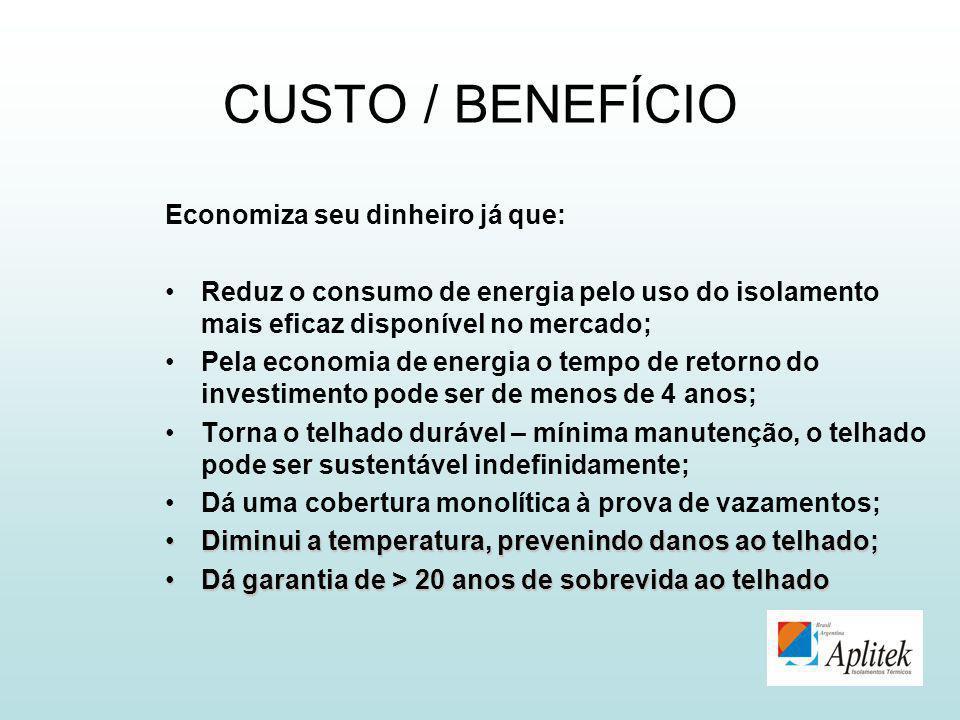 CUSTO / BENEFÍCIO Economiza seu dinheiro já que: