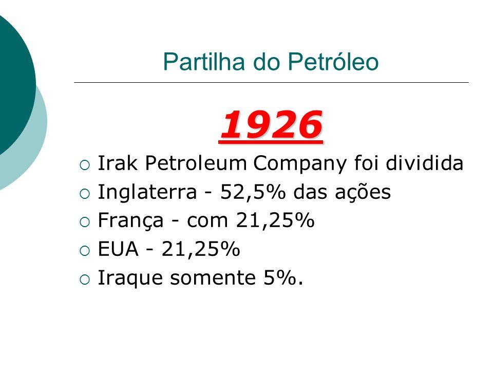 1926 Partilha do Petróleo Irak Petroleum Company foi dividida