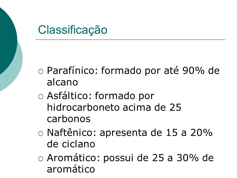 Classificação Parafínico: formado por até 90% de alcano