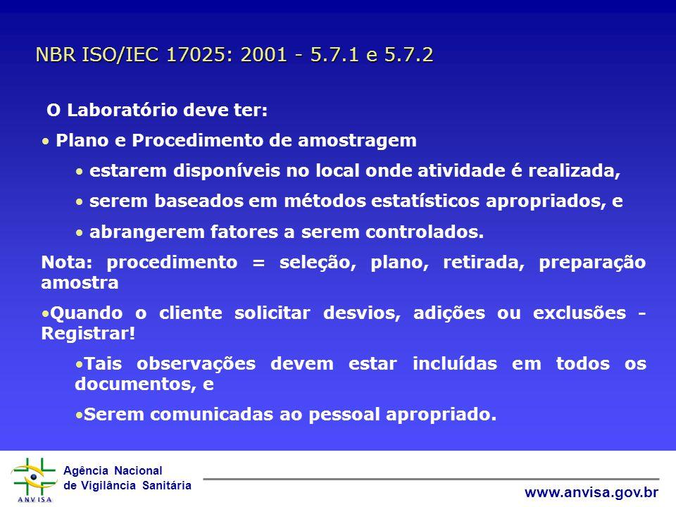 NBR ISO/IEC 17025: 2001 - 5.7.1 e 5.7.2 O Laboratório deve ter: