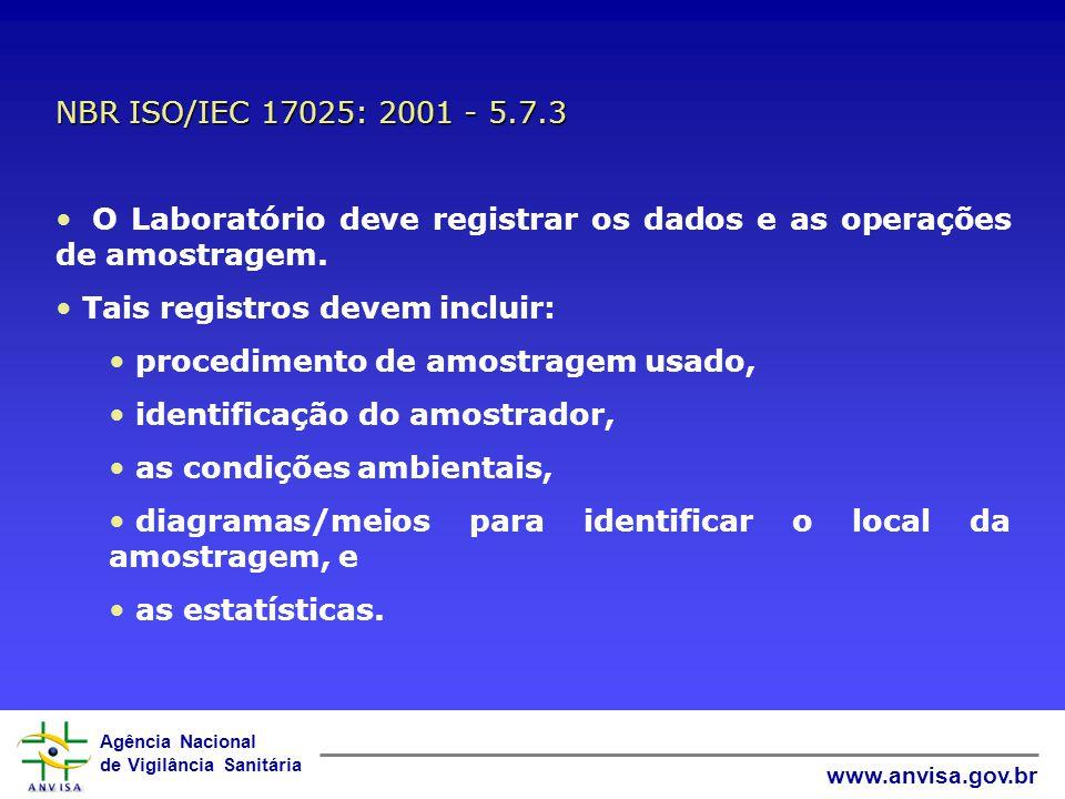 NBR ISO/IEC 17025: 2001 - 5.7.3 O Laboratório deve registrar os dados e as operações de amostragem.