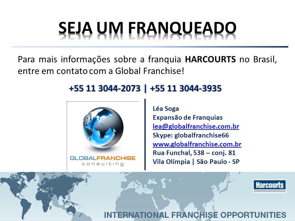 SEJA UM FRANQUEADO Para mais informações sobre a franquia HARCOURTS no Brasil, entre em contato com a Global Franchise!